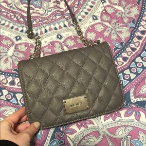 Grey Nine West Quilted Purse